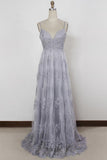 Sheath Spaghetti Straps Sweep Train Backless Lavender Tulle with Appliques Prom Dresses WK156