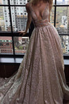 A-Line Deep V-Neck Court Train Open Back Sequined Prom Dress with Beading WK82