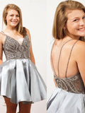 Straps Short Silver Beads Backless V-Neck A-Line Tulle Homecoming Dresses WK167