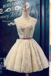 Boat Sleeveless Short Knee-Length Prom Dress Lace Up Appliques Sheer Back Homecoming Dress P5