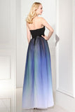 Elegant A Line Ombre Sweetheart Black Lace up Sleeveless Evening Prom Dresses WK578