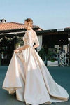 2020 Half Sleeves Lace Modest Long Custom Made Wedding Dresses WK89