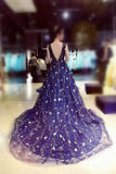 Chic Ball Gown Dark Navy Scoop Sweep Train Tulle Modest Rhinestone Long Prom Dresses WK210