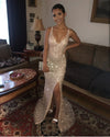 Sexy V Neck Sequins Side Slit Rose Gold Prom Dresses Long Mermaid Formal Dress WK540