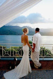 Vintage Mermaid Spaghetti Lace Bridal Gown Sexy Backless Beach Wedding Dress WK255