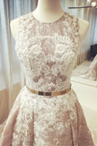 A-Line Round Neck Long Wedding Dress Sleeveless Scoop Belt Appliques Prom Dresses WK367