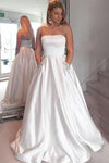 A-Line Satin Strapless Princess Floor-length Beading with Pockets Sleeveless Prom Dresses WK471
