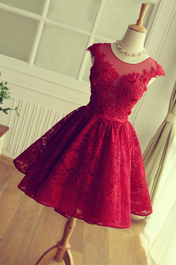 Scoop A-line Short Red Lace Homecoming Dress Cute Prom Dress