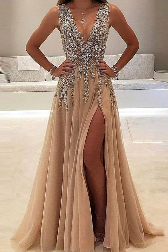 2020 A-line V-neck Nude Tulle with Slit Sexy Shinny Rhinestone Long Prom Dresses WK634
