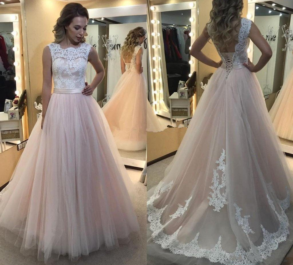 A-Line Light Pink Tulle with White Lace Appliqued Open Back Floor-Length Prom Dresses WK547