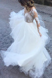 White Excellent Tulle Bateau Neckline Long Sleeves A-line Appliques Wedding Dresses WK615