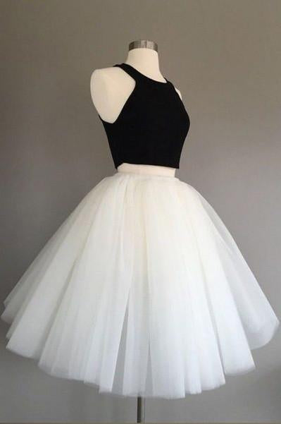 White and Black Two Pieces Tulle Cute Tutu Party Dresses Homecoming Dress WK91