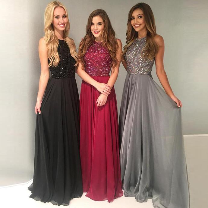 Charming 2019 New Crystal Sweep Train Prom Dress Long Prom Dress Prom Dresses WK610