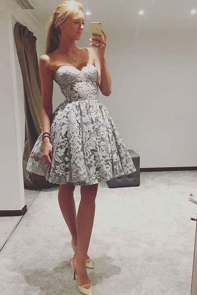 Cute A Line Sweetheart Strapless Open Back Grey Lace Short Homecoming Dresses WK947