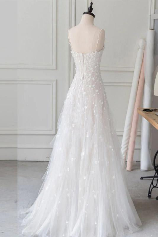 White Spaghetti Straps Lace Tulle Evening Dress Floor Length Prom Dress with Beads WK676