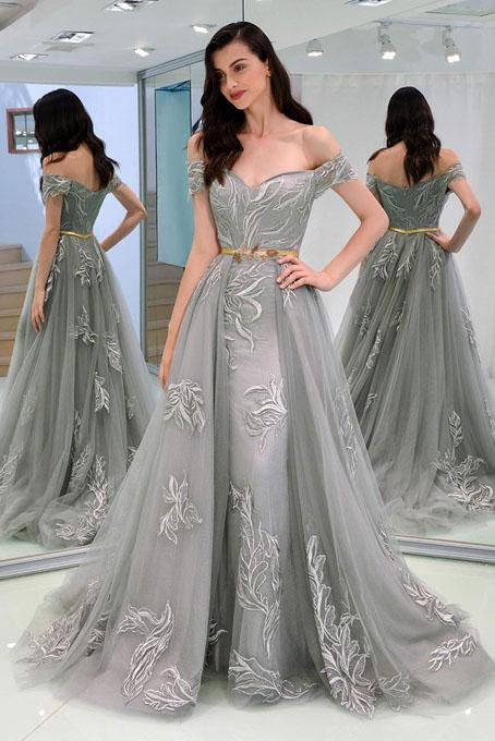 A-Line Appliques Off-the-Shoulder Gray Evening Dress With Sashes Long Tulle Prom Dresses WK676