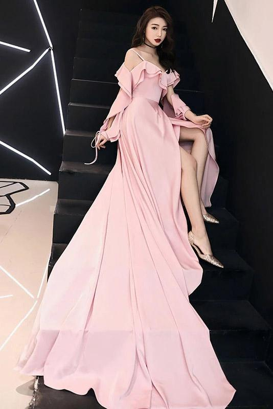 Spaghetti Straps Simple Pink Chiffon Long Prom Dress A Line Evening Dress with Ruffle WK981