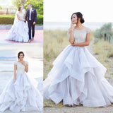 2020 Sparkly Beads Ruffles Organza Scoop Cap Sleeve Lavender Prom Wedding Dresses WK143