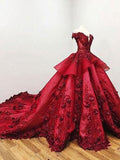 2020 Chic Ball Gown V Neck Beads Appliques Red Off-the-Shoulder Long Prom Dresses WK139