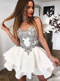 Cute A Line Scoop Grey Lace Appliques Ivory Mini Satin School Dress Homecoming Dresses WK992