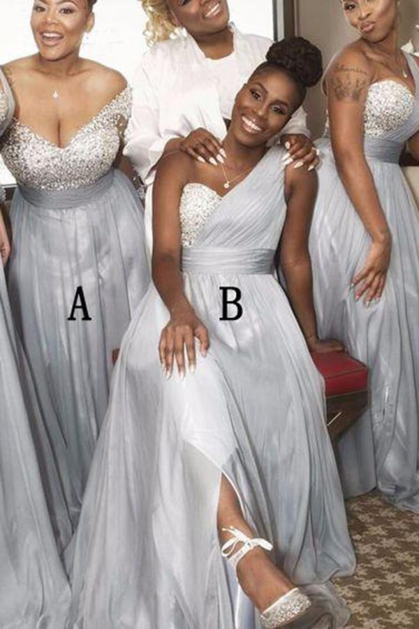 A Line Sweetheart Grey Beading One Shoulder Bridesmaid Dresses WK282