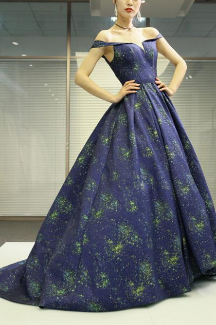 A Line Off the Shoulder Long Navy Blue Prom Dress with Printed, Cheap Evening Dresses PW847
