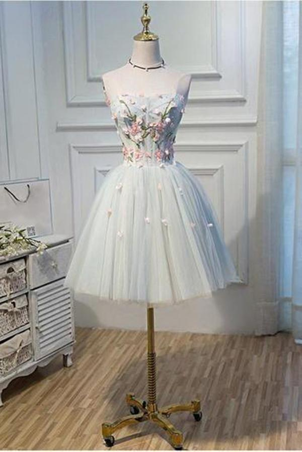 A Line Strapless Light Blue Lace up Homecoming Dress Flower Applique Short Prom Dresses WK730