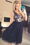 Cute A Line V Neck Open Back Tulle Navy Lace Chiffon Tea Length Short Homecoming Dresses WK988