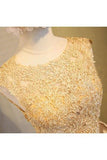 Light beads satins lace round neck homecoming dress WK384
