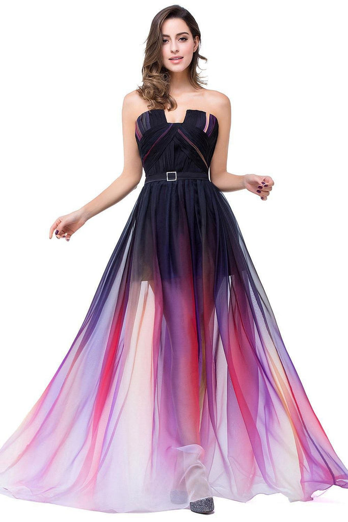 A-Line Ombre Sleeveless Strapless Open Back Long Gradient Chiffon Prom Dresses WK373