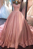 Ball Gown Pink Strapless Appliques Sweetheart Sweep Train Satin Evening Dresses WK775