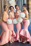 Baby Pink Mermaid Off the Shoulder Hi-Low with Ruffles Sweetheart Lace Top Bridesmaid Dress WK468