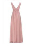 A Line V-neck Long Chiffon Prom Dresses Evening Dresses WK530
