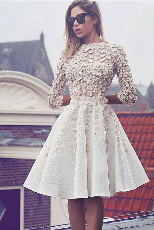 Glamorous Lace Short Flowers A-Line 3/4 Sleeves Hoco Knee-Length Homecoming Dresses WK301