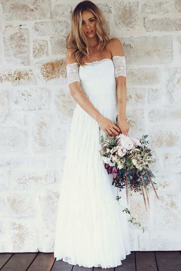A-Line Off-the-Shoulder Short Sleeves Backless White Lace Boho Wedding Dresses WK365