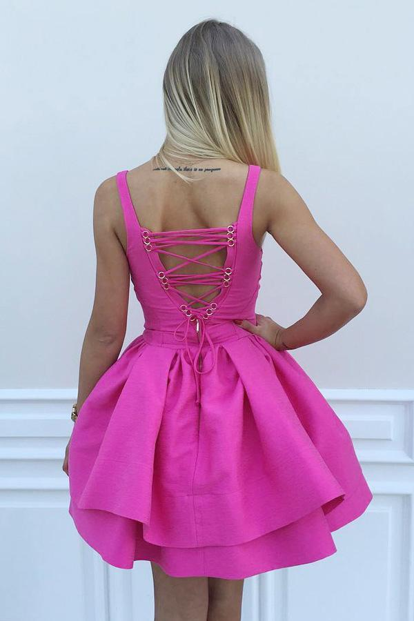 Ball Gown Scoop Eyelet Lace up Fuchsia Short Prom Dress Satin Cute Mini Homecoming Dress WK700