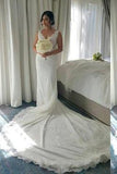 Shinny V-neck Sleeveless Mermaid Lace Beaded Wedding Dresses WD21