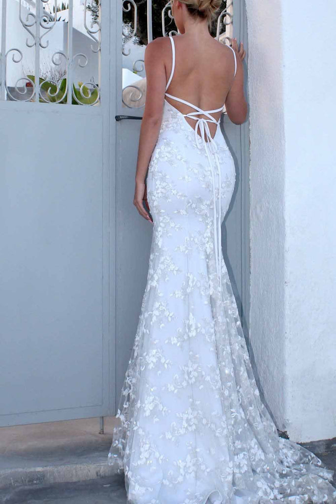 Sexy Backless Off White Mermaid Lace V Neck Wedding Dresses Long Prom Dresses WK354