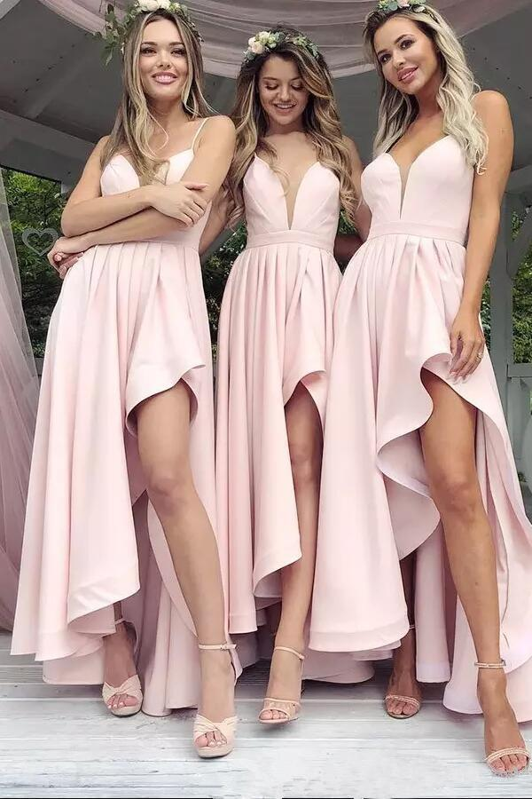 A Line Spaghetti Straps V Neck High Low Pink Satin Prom Dresses Bridesmaid Dresses WK314