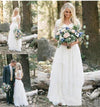 Bohemian Forest A Line V Neck Half Sleeves Sweetheart Lace Chiffon Wedding Dresses WK273
