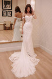 Sheath Off-the-Shoulder White Mermaid Chiffon Lace Appliques Beach Wedding Dresses WK328