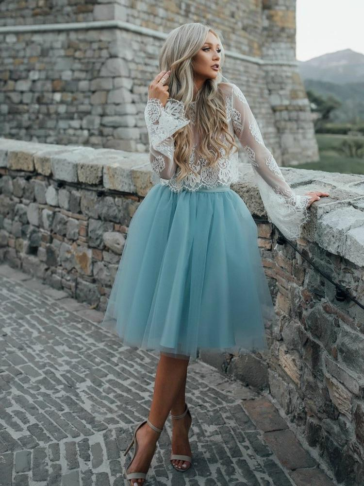High Fashion Two-Piece Long Sleeves Homecoming Dress White Lace Top with Tutu Skirt WK122