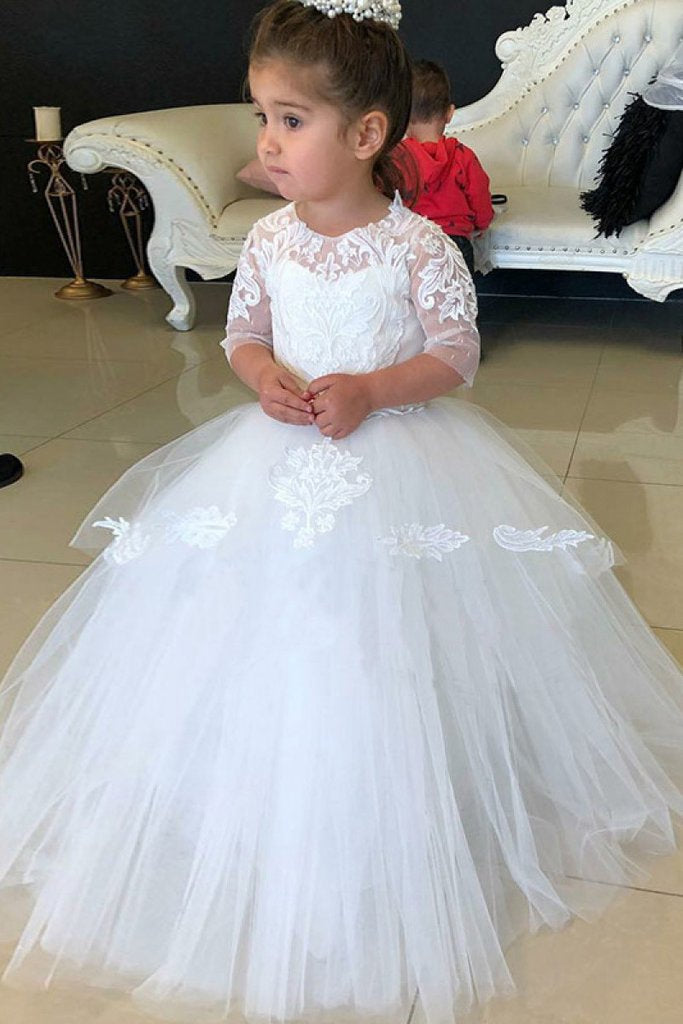 Cheap White Floor Length Half Sleeves Tulle Flower Girl Dress with Lace Appliques WK890
