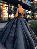 2019 Ball Gown Spaghetti Straps Navy Blue Vintage Cheap Long Prom Quinceanera Dresses WK113