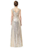 A Line Sequin V Neck V Back Sleeveless Gold Ruffles Maxi Evening Prom Dresses WK336