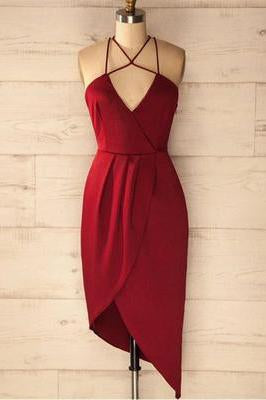 A Line Spaghetti Straps V Neck Simple Cheap Red Short Homecoming Dresses WK18