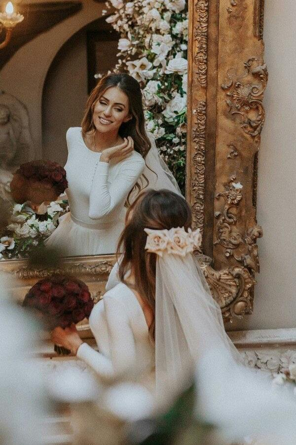 A-Line Ivory Sweep Train Tulle Long Sleeves Long Beach Wedding Dresses with Ruffles WK898