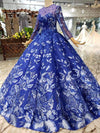 Ball Gown Blue Round Neck Prom Dresses with Beads Lace up Quinceanera Dresses WK784