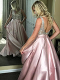 Beaded Satin Ball Gown Backless V Neck Sparkly Long Prom Dresses with Pockets WK94