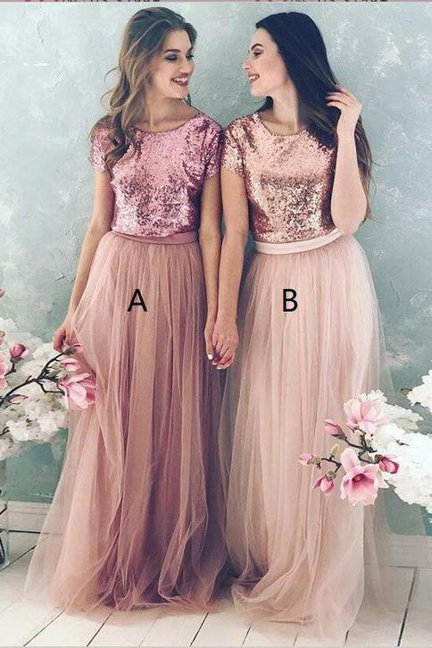 A Line Top Blush Sequin Lovely Two Piece Tulle Round Neck Cheap Bridesmaid Dresses WK832